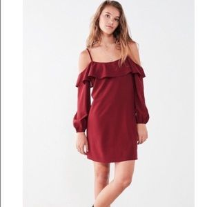 Urban Outfitters Ruffle-Neck Cold Shoulder Dress